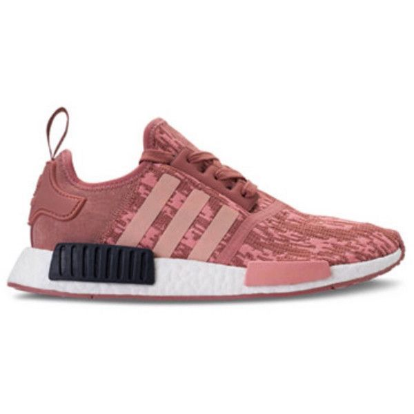 Adidas Nmd r1 Raw pink/trace Pink Legend Ink Customized With Swarovski... ($245) ❤ liked on Polyvore featuring shoes, sneakers, silver, sneakers & athletic shoes, women's shoes, logo shoes, pink trainers, shiny shoes, polish shoes and pink shoes