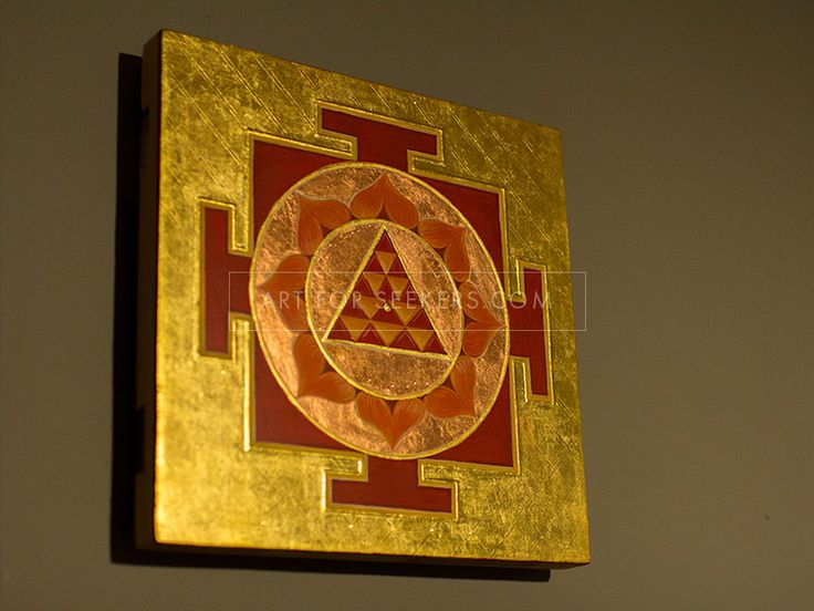 Mars Yantra. Egg tempera and gold leaf on wooden panel.