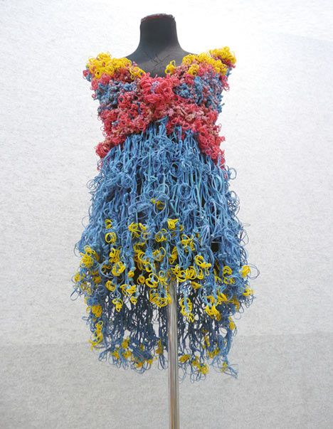 M2 by Milev Architects: Dress made of rubber bands, part of the firm's Recycling of the Architectural Office Collection.