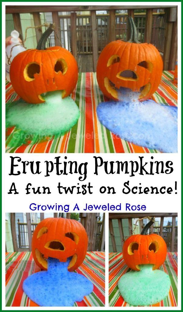 Erupting Pumpkins Experiment for Kids- a fun twist on Science kids will love! {Puking pumpkins}