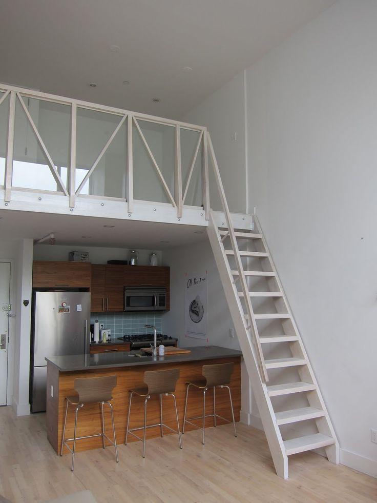 Artist Loft: Stairway To Loft Above Kitchens