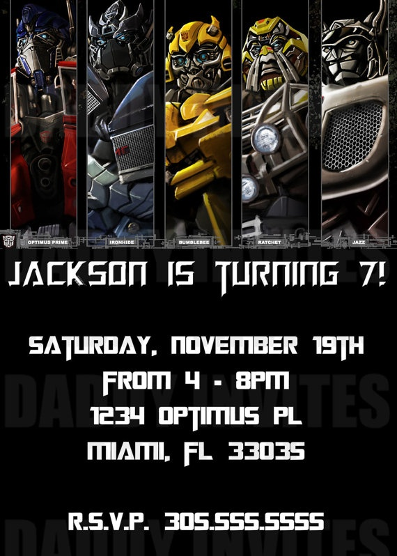Transformers Birthday Invitation by DaddyInvites on Etsy