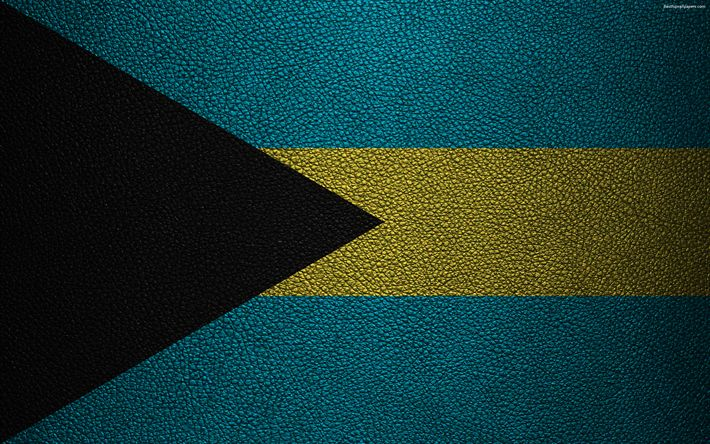 Download wallpapers Flag of the Bahamas, 4K, leather texture, North America, Bahamas flag, flags of the world, Bahamas
