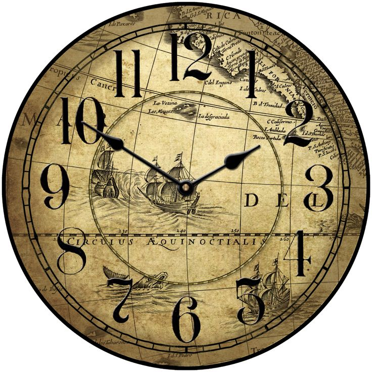 Tan Map Clock Comes In Seven Sizes. Great For The Historian, The Sailor,