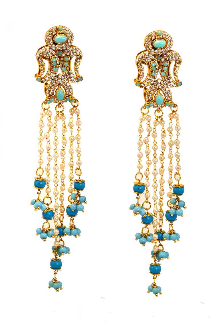 Turquoise Blue Gold Victorian Earrings,wedding Jewelry,bridal Chandelier  Earrings,turkish Jewellery,indian Wedding Jewelry,royal Ethnic