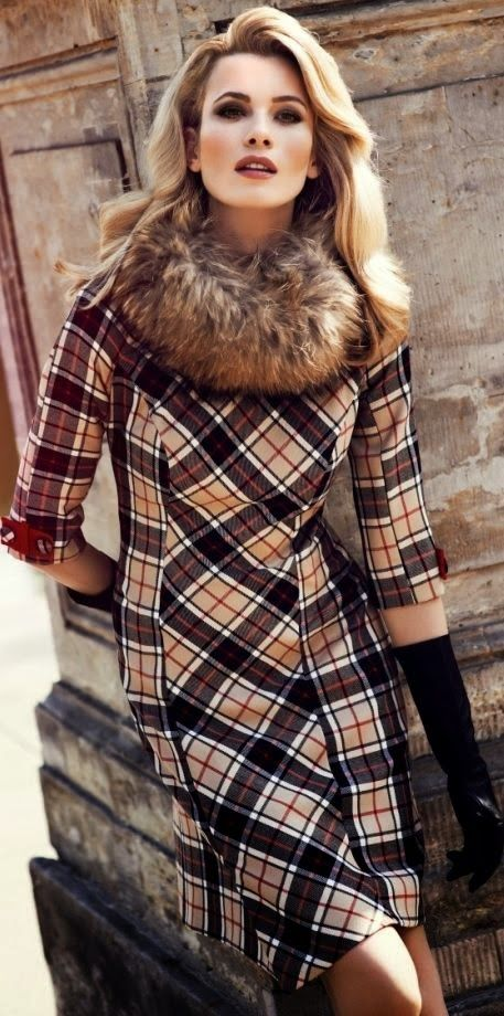 Handsome vintage-style tartan dress (with long gloves). BellaRusticaDesign.com