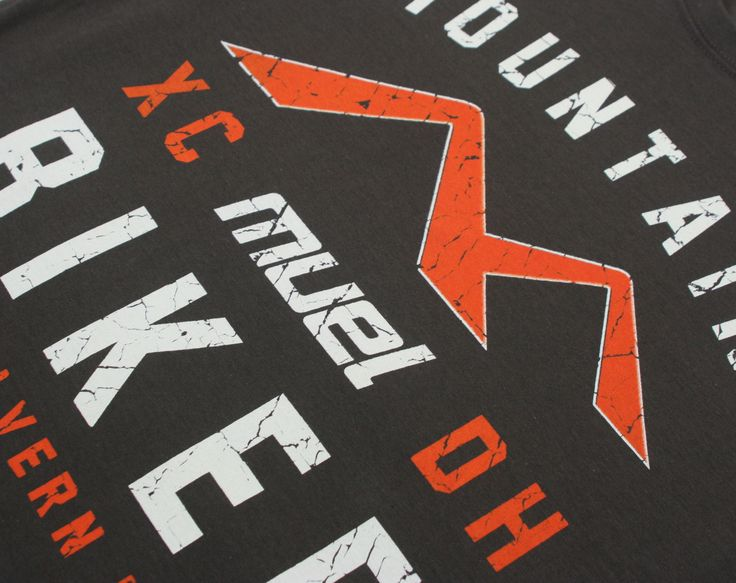 Close up of our Mountain Biker tee in a distressed print