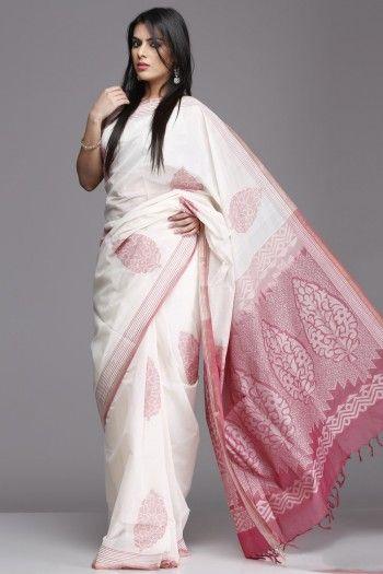 Pristine Off-White & Pink Village Cotton Saree