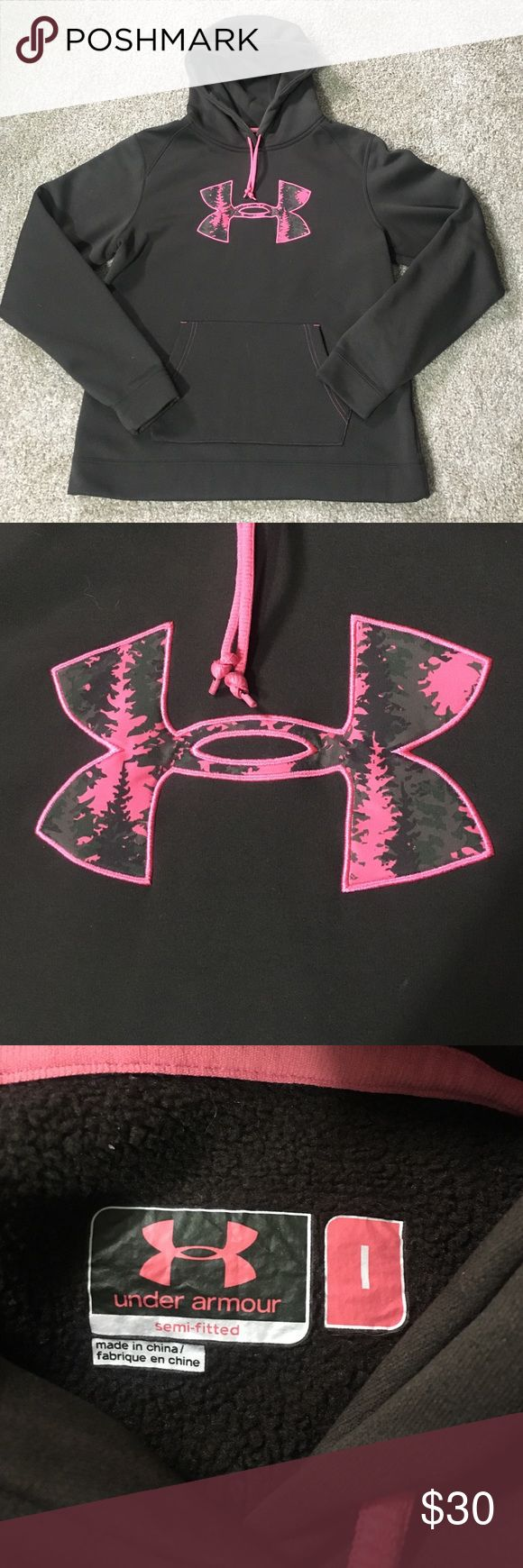 """New w/o tags! Women's Under Armour Hoodie! Dark brown womens hoodie with pink accents! Semi-fitted. The UA symbol has a """"forest"""" theme inside it and looks like pine trees. Very pretty! Received as a Christmas gift and it's been hanging in my closet ever since. Under Armour Tops Sweatshirts & Hoodies"""