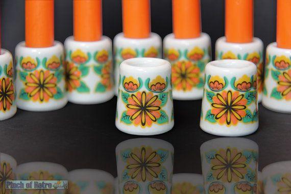 Vintage mini oranje kaarsen  keramiek kandelaars Rösling