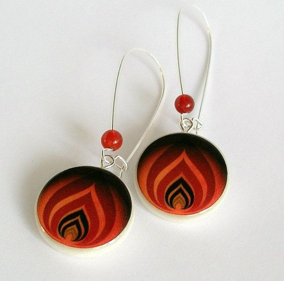 The Levels of Flame Vector Art Polymer Clay Earring by ArtHarmony
