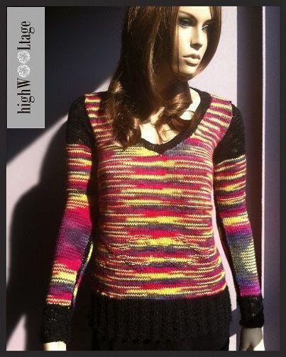 Sweter wykonany ręcznie, na drutach. W kolorach wiosennych tulipanów.