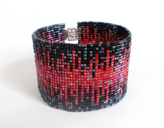 Perles noir Bracelet rouge et gris Bracelet de perles par DiDecor