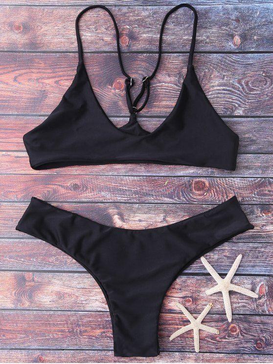 Spaghetti Strap Thong Bikini Set - BLACK M