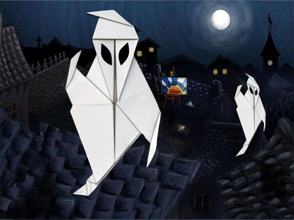Origami Ghost by Paul Jackson   This ghost will make great Halloween decorations! It will look spooky on your walls and windows (especially if you use fluorescent origami paper!). They is very easy and fun to fold.  Folder and Photo: @Origami_Kids   Difficulty level: Very easy, Time to fold 20 min. 20 steps. Folded from a one classic Single Uncut square origami white paper  How to fold: http://origami-blog.origami-kids.com/halloween-decorations-origami-ghost-by-paul-jackson.htm