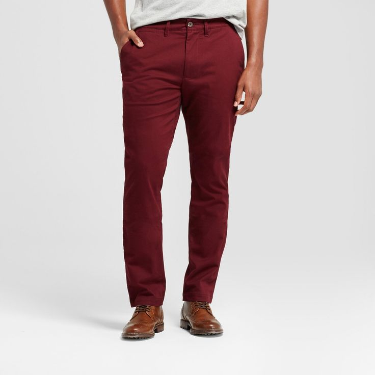 Men's Athletic Fit Hennepin Chino Pants - Goodfellow & Co Burgundy (Red) 38X32