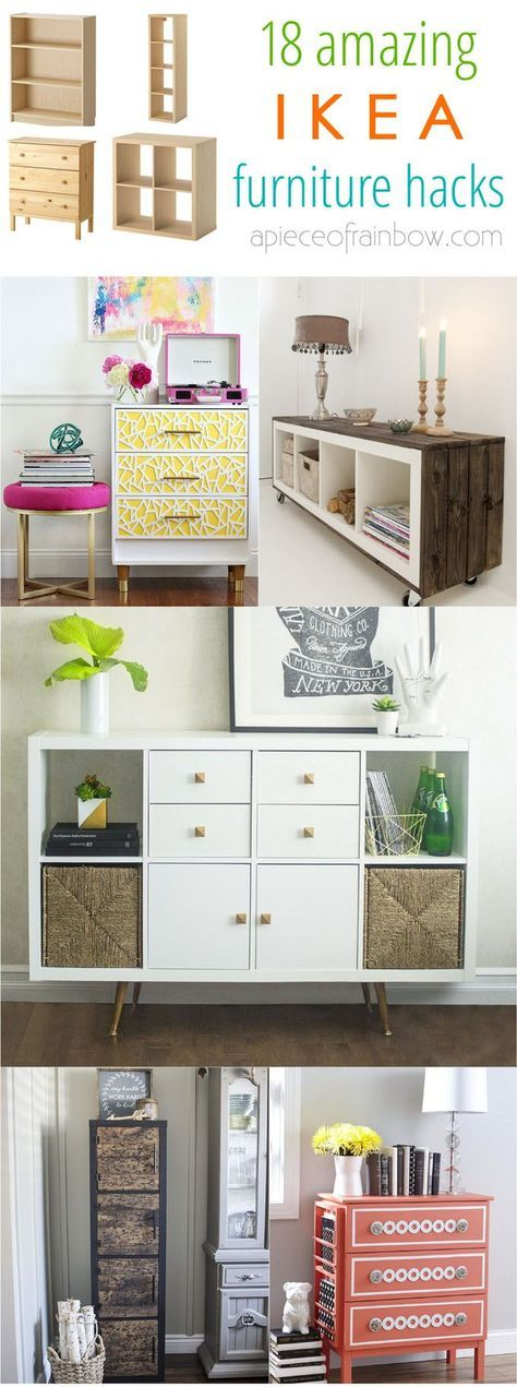 Make gorgeous custom furniture easily with 18 super creative IKEA hacks: dressers, cabinets, benches, tables, kitchen island, and more! - A Piece of Rainbow