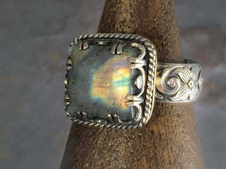 Boho Labradorite ring. Blue flash gemstone set in a vintage style boho ring. A handmade artisan ring in sterling silver. Gift for Mom. by NimbleWitchCreative on Etsy