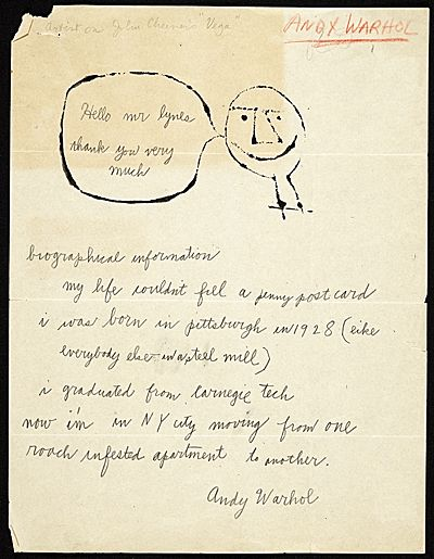 Andy Warhol letter to Russell Lynes, 1949. Harper's Magazine records kept by managing editor Russell Lynes, Archives of American Art, Smithsonian Institution.
