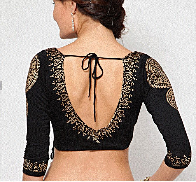 Three quarter sleeves black readymade saree blouse.