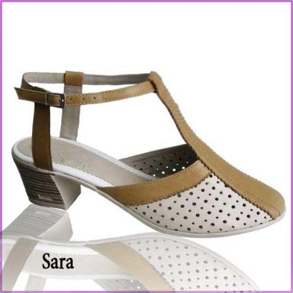 оптом Лето Sara, Л84/4015, Натуральная кожа, Женская обувь с закрытым носом на небольшом устойчивом каблуке