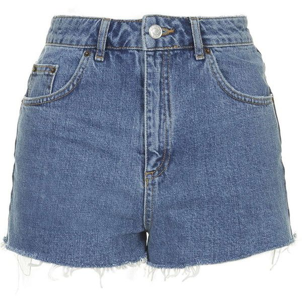TOPSHOP TALL Blue Denim Mom Shorts (£34) ❤ liked on Polyvore featuring shorts, bottoms, short, pants, mid stone, high rise denim shorts, topshop, tall shorts, denim shorts and short shorts