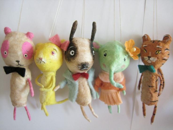 Spun Cotton ornament miniature animals  by maria pahls