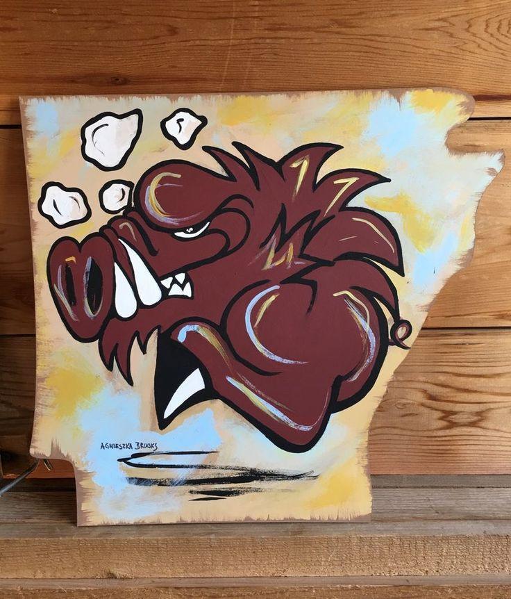 Original Arkansas Razorback Painting New Signed and Licensed   eBay
