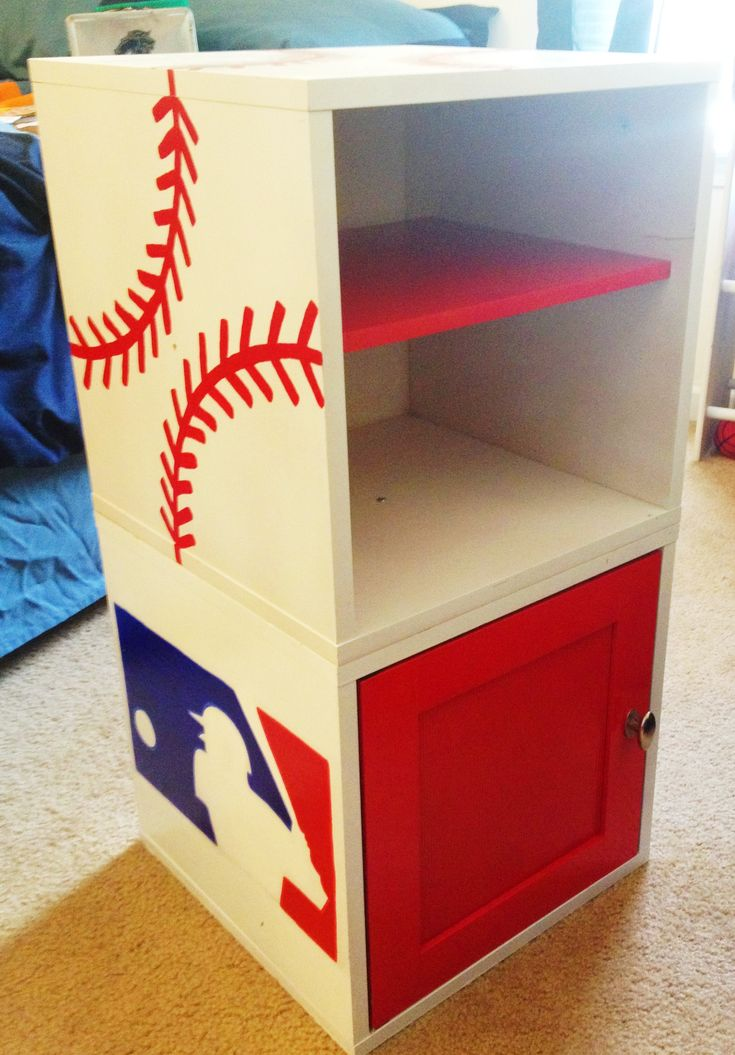 Baseball shelf for Austin's room. I painted it and then coated with lacquer to make it shine.