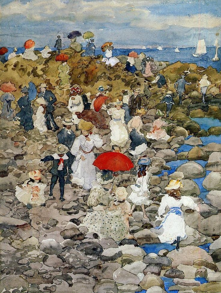 birdsong217:  Maurice Prendergast (American, 1858-1924)  Rocky Shore, Nantasket, 1896. Watercolour, pencil and ink on paper.