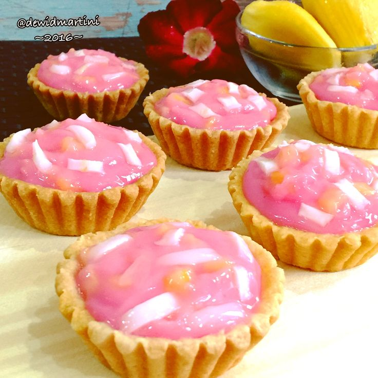 Rose flavored custard with jackfruits n coconuts tart