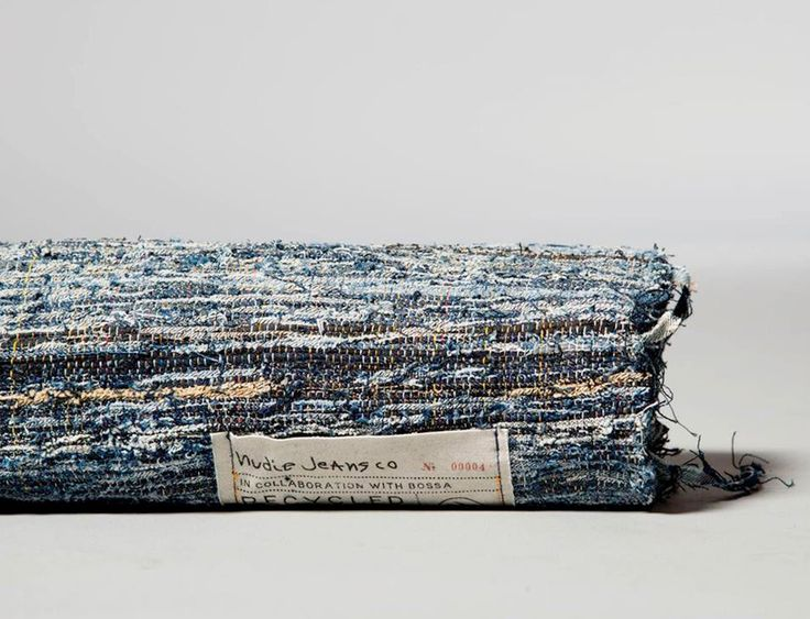 post-recycled nudie jeans are turned into denim rugs