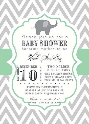 PRINTABLE Gray and Mint Green Elephant Modern Baby Shower, Bridal Shower, Birthday, etc Invitation - colors can be changed $15