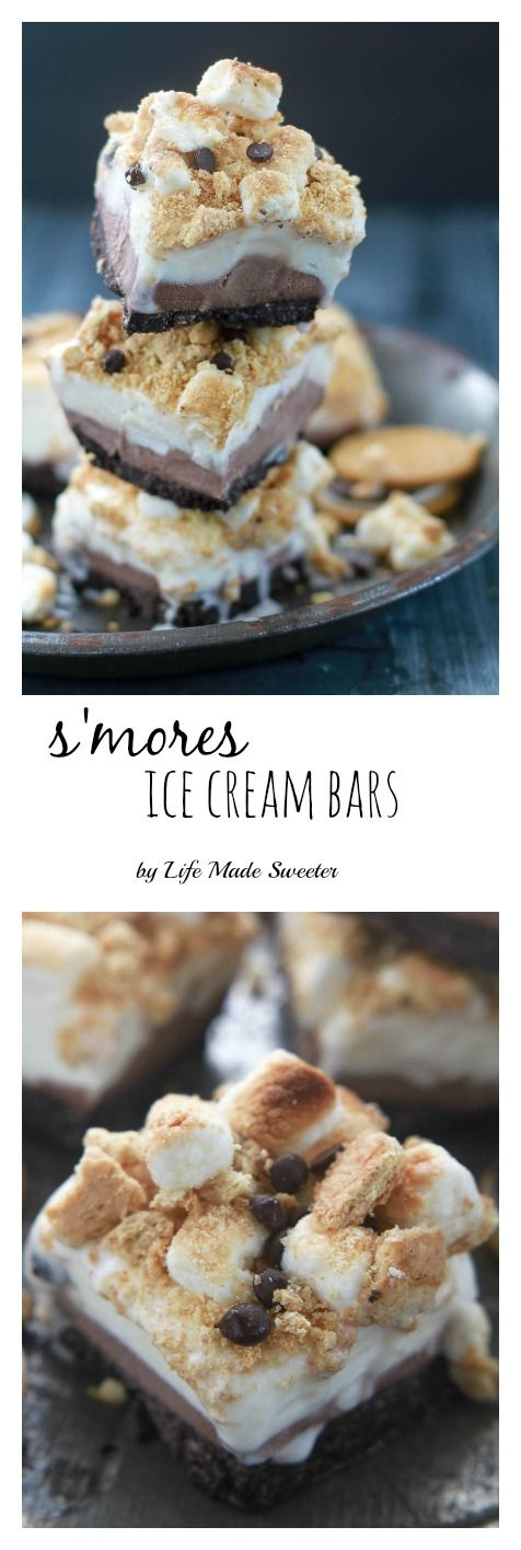 S'mores Ice Cream Bars - So easy & only 6 ingredients with the best graham cracker topping & no-bake cookie crust. The perfect frozen treat with your favorite campfire flavors.