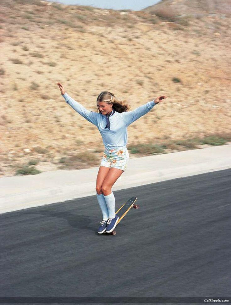 The lovely and rad Ellen O'Neal nose wheelie. La Costa  1976 Photo: Warren Bolster #skateboarding #skatergirls