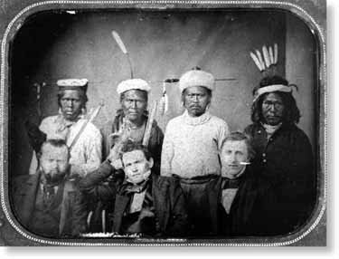 Maidu leaders with Treaty Commissioners (George W. Barbour, Redick McKee, O. M. Wozencraft) - circa 1851