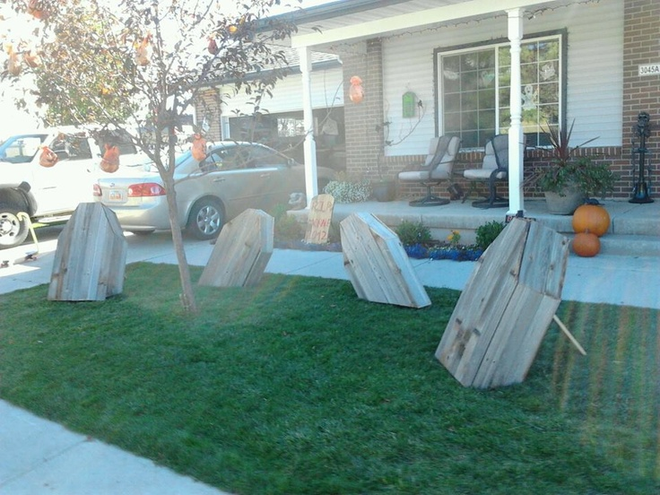 Halloween decorations, Coffins, These were made from an old privacy fence