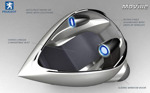 Futuristic Car, Peugeot, Moville, Future car, Hybrid Vehicle