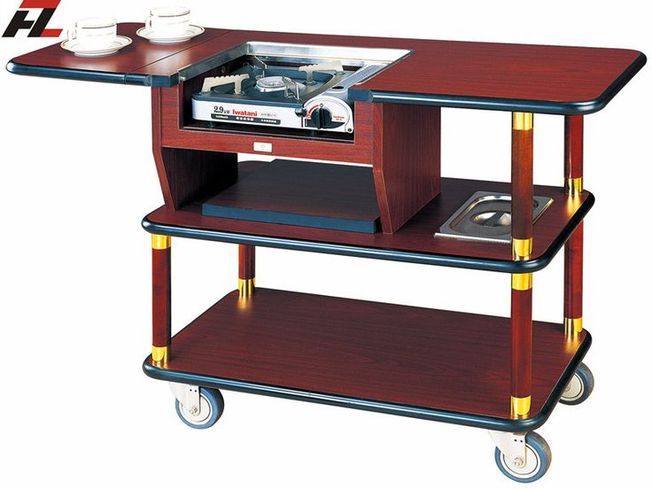 Hotel Serving Trolley with Gas Stove for Coffee Making