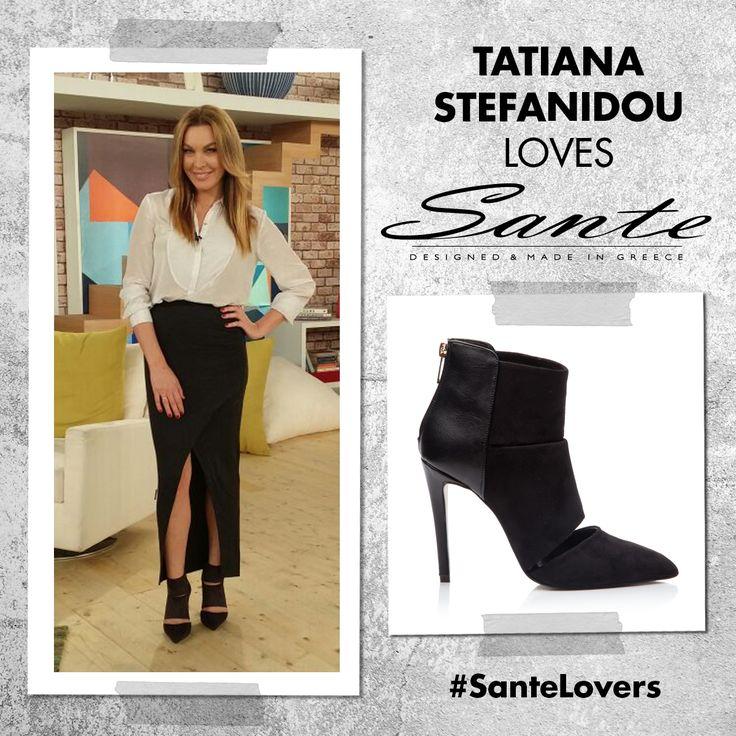 """Η Τατιάνα Στεφανίδου με SANTE cut out booties heel στην εκπομπή """"ΜΙΑ"""" στο STAR #SanteLovers"""