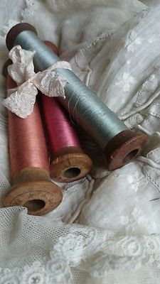 Fabulous old wooden spools wound with the finest pure silk thread…I want these, please