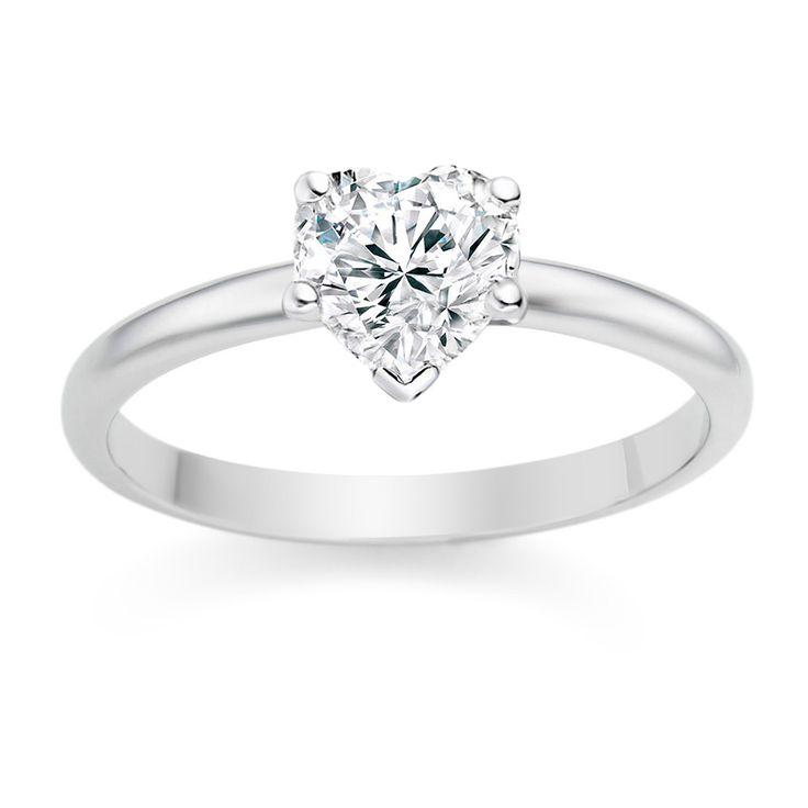Heart Cut 0.25 Carat D/VVS1 18k White Gold Diamond Engagement Ring  £899 vashi.com