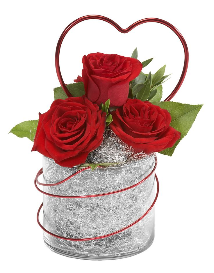 v-day- ribbon treatment on vase instead of wire or maybe wire inside-maybe red cube instead of clear glass