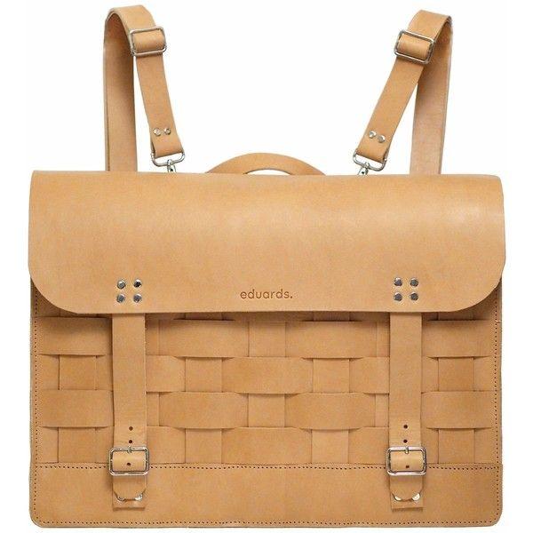 Eduards Accessories Sweden - Näver Backpack/Satchel in Nature Leather (€625) ❤ liked on Polyvore featuring bags, backpacks, leather satchel, leather laptop bag, satchel backpacks, laptop rucksack and leather satchel backpack