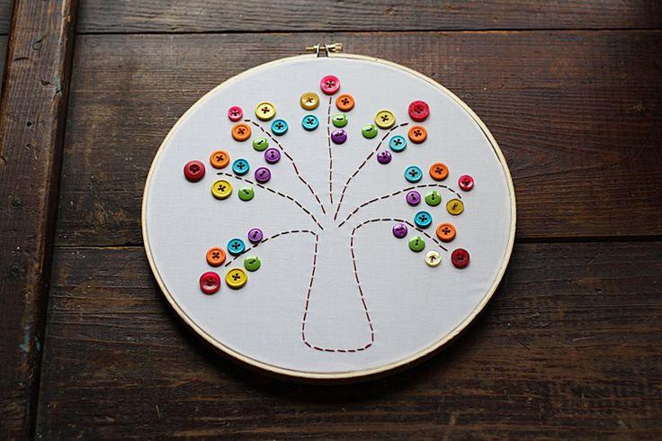 Embroidery Hoop Rainbow Tree @amandaformaro Crafts by Amanda