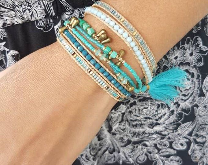 Featured listing image: Blue Turquoise bohemian wrap bracelet with cotton tassel