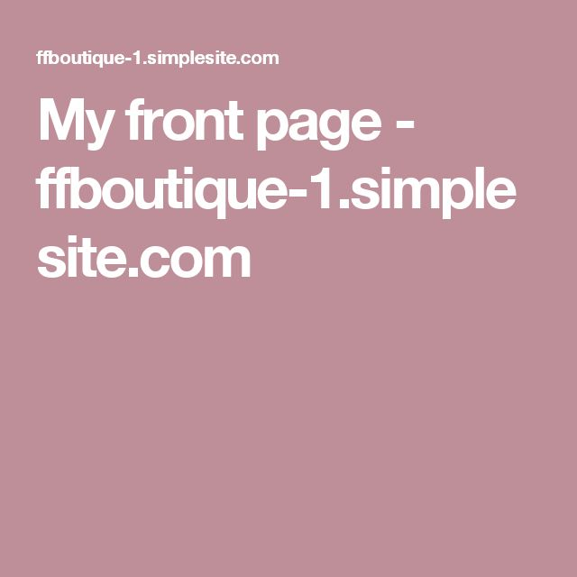 My front page - ffboutique-1.simplesite.com
