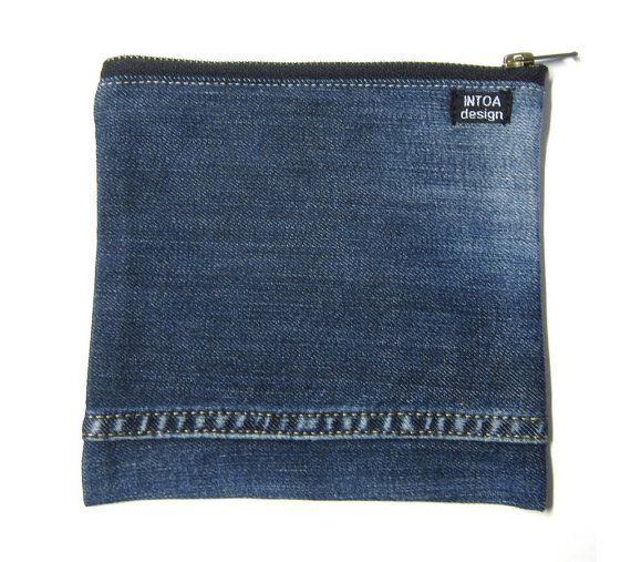 Pouch of recycled jeans 18 x 18 cm by INTOAdesign on Etsy