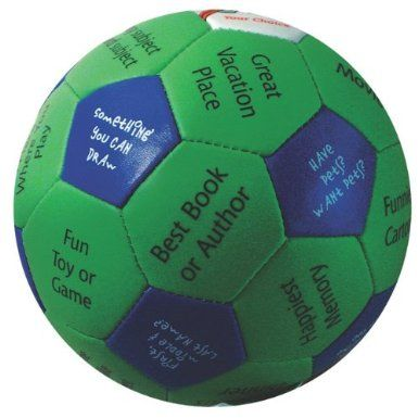 """make your own """"thumb ball"""" icebreaker activity....use old soccer ball, write your own...possible review idea too"""