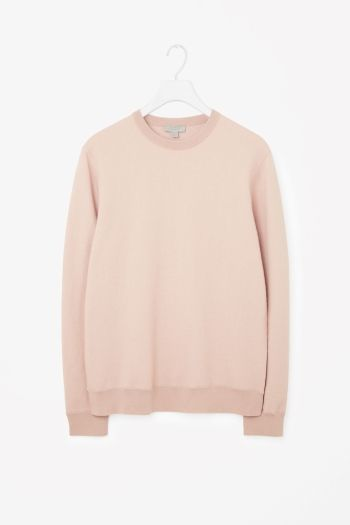 COS image 2 of Boiled wool jumper in Blush